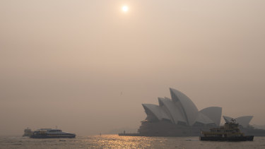 Smoke haze over Sydney Harbour.