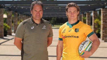 Wallabies coach Dave Rennie with captain Michael Hooper.