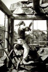 Albert Tucker's photograph of Danila Vassilieff building Stonygradin 1944.