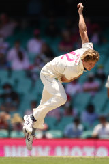 Cameron Green bowls during the third Test at the SCG. He has yet to take a wicket.