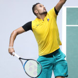 Kyrgios served nine aces from 10 points in the closing stages of the second set.