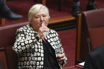 Nationals senator Sam McMahon takes a sip of water during a division in the Senate on Wednesday morning.