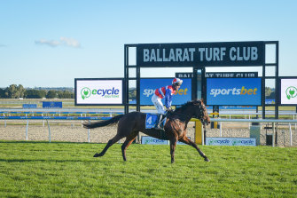 Inayforhay, ridden by Lee Horner, took out the Grand National Steeplechase at Ballarat on Sunday.