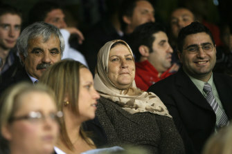 Bachar Houli's mother, Yamama, watches him play his debut game from the stands in 2007.