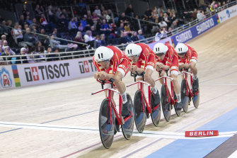 Denmark's team pursuit quartet has broken the world record.