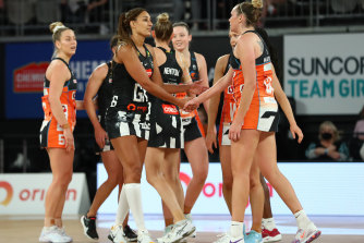Geva Mentor of the Magpies and the Giants' Jo Harten after Sunday's clash.