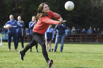 The Duchess of Cambridge plays Gaelic football during their official visit to Ireland earlier this year.