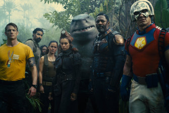 The Suicide Squad's cast of rogue superheroes, including Idris Elba (second from right) as Bloodsport.