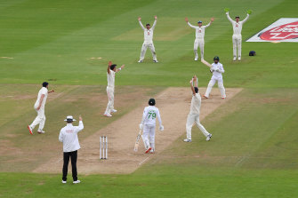 James Anderson of England appeals successfully for the wicket of Pakistan's Abid Ali during day four.