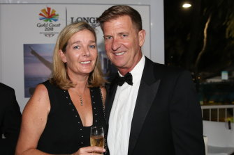 Katrina and Tim Worner on the eve of the 2018 Commonwealth Games on the Gold Coast.