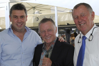 David Gyngell, John Cornell and John Singleton at the Magic Millions horse race on the Gold Coast in January 2009.