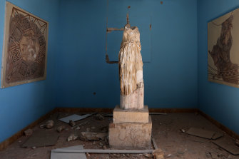 A beheaded and mutilated statue in a Palmyra museum.