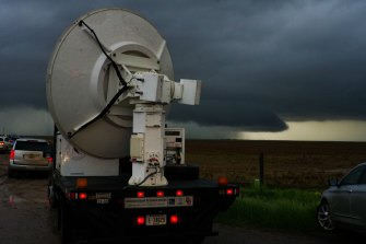 A DOW (Doppler Radar on Wheels) deploys in front of a tornadic supercell in eastern Colorado on Sunday.