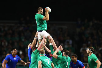 Tadhg Beirne flies high for Ireland against Samoa at Fukuoka Hakatanomori Stadium on Saturday night.