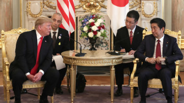 US President Donald Trump and Japanese Prime Minister Shinzo Abe during a bilateral meeting at Akasaka Palace  on Monday.