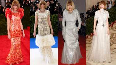 Which gown will it be? Anna Wintour (from left) at the 2015, 2017, 2008 and 2018 Met Gala.