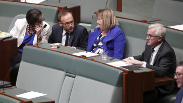 Crossbench MPs Cathy McGowan, Adam Bandt and Rebekha Sharkie during Question Time at Parliament House in Canberra