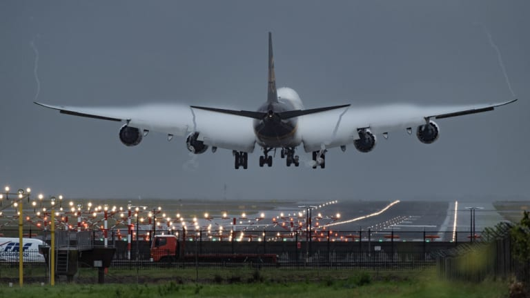 Plane arriving at Sydney airport.