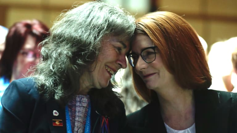 Chrissie Foster and Julia Gillard during an address to survivors after the national apology on Monday.
