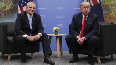 Prime Minister Scott Morrison meets with US President Donald Trump while attending the G20 summit in Buenos Aires last November.
