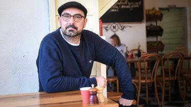 Jackson Davie in his cafe.