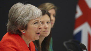 Britain's Prime Minister Theresa May speaks during a meeting with Japan's Prime Minister Shinzo Abe at the G20 Leader's Summit in Buenos Aires on Saturday.