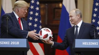 Russian President Vladimir Putin gave US President Donald Trump a soccer ball.