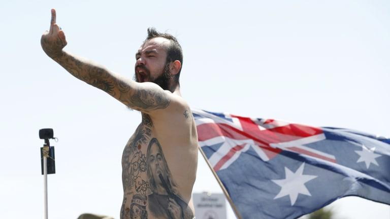 Right wing protestors rallied in St Kilda on Saturday.