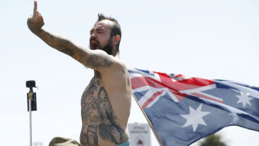 Right wing protestors rallied in St Kilda on Saturday.