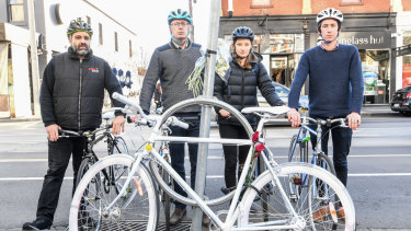 Bicycle network members at the ghost bike in honour of Gitta Scheenhouwer, who was killed on Chapel Street after being hit by a stolen car. (L-R) Morris Caleca, Craig Richards, Grace van der Marve and Alexander Miller.