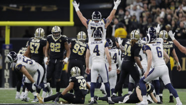 Los Angeles Rams kicker Greg Zuerlein watches his match-winning field goal against New Orleans in the NFC Championship game in the last NFL season.