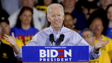 Former vice-president Joe Biden speaks during a campaign stop at a Teamsters union hall in Pittsburgh.