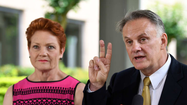 One Nation leader Pauline Hanson with her new candidate,  Mark Latham, in Sydney on Wednesday.