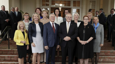 The Prime Minster, Scott Morrison, poses among women in his ministry (and his deputy) in May this year.