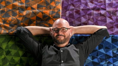 Public Transport Victoria's Dean Butler, the man behind the new public transport seats which aim to reflect Melbourne's visual identity.