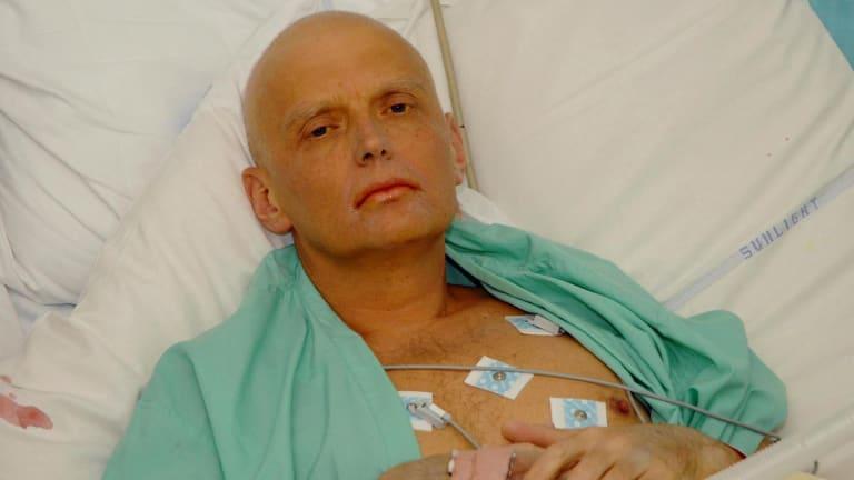 Alexander Litvinenko in his hospital bed before his death.