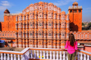 Best colours for Instagram photos Hawa Mahal inJaipur pink palace in India