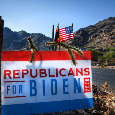 An Arizona Republicans for Biden sign outside of Scottsdale, Arizona