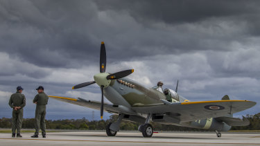 BRISBANE, AUSTRALIA - JULY 12: A Spitfire is seen on Brisbane's new Runway at an event to celebrate the runway's opening on July 12, 2020 in Brisbane, Australia. Construction on the $1 billion new runway started in 2012 - the largest aviation construction project in Australia - and is expected to double Brisbane Airport's aircraft and passenger capacity. (Photo by Glenn Hunt/Getty Images)