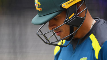 Ultimate pro: Usman Khawaja during a nets session at the Adelaide Oval.