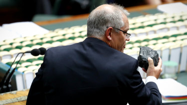 Then treasurer Scott Morrison holds up a lump of coal in Parliament in February 2017.