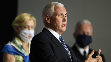 Former vice-president Mike Pence in 2020, as he speaks at the White House.