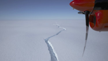 A aerial view taken in January last year showing a massive crack in the Brunt Ice Shelf in Antarctica.