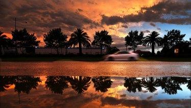 Sunset on Dandenong Road, Oakleigh.