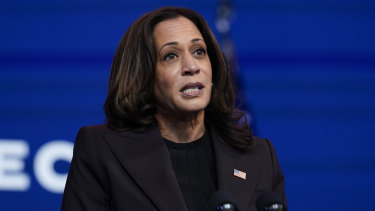 Vice-President-elect Kamala Harris speaks before President-elect Joe Biden on Tuesday.