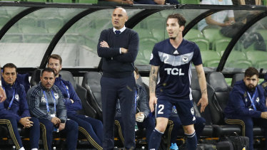 Coach Kevin Muscat watches on at AAMI Park on Tuesday night.