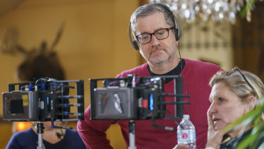 Parks and Recreation creator Greg Daniels on the set of Upload.
