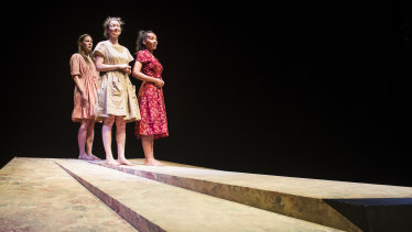 Brenna Harding, Sophie Ross and Paula Arundell in Griffin Theatre's The Bleeding Tree.