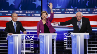 From left: Michael Bloomberg, Elizabeth Warren and Bernie Sanders during the debate.