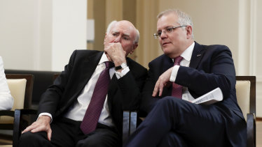 John Howard and Scott Morrison at the opening of the UNSW Howard Library at Old Parliament House on Tuesday.